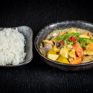 Golden curry pork with coconut cream.